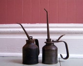 Set of Two Handled Oil Cans