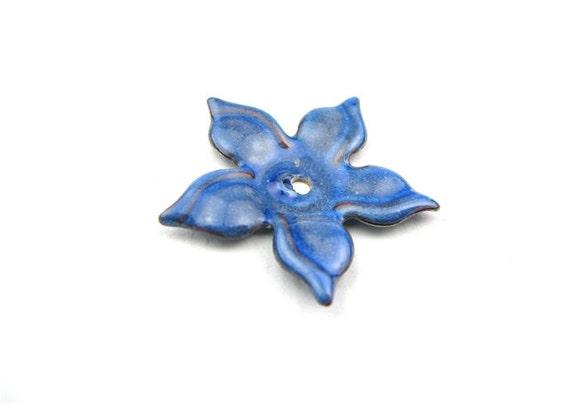 Enameled Flower/ Blue enamel