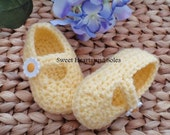 Summer Daisy Pastel Yellow Baby Mary Janes 6-9 Months
