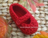 Crochet Baby Mary Janes - Little Red Riding Shoes 6-9 Months - free shipping included!