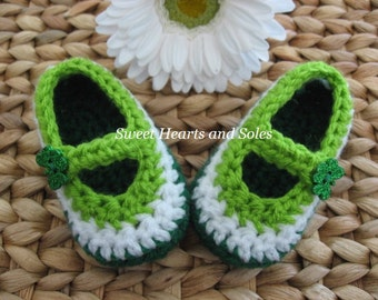 Tri Color Green, Lime Green & White Sparkly Shamrock Baby Mary Janes 0-3 Months - Free Shipping Included