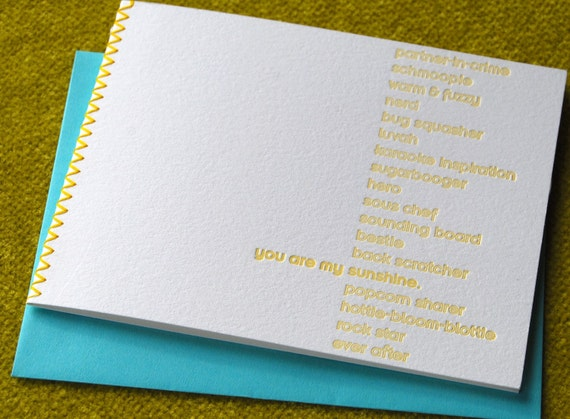 You Are My Sunshine (and more) card