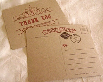 10 Vintage Style Thank You Postcards
