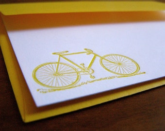 Letterpress Stationery with Bicycle Motif - Yellow set of 4