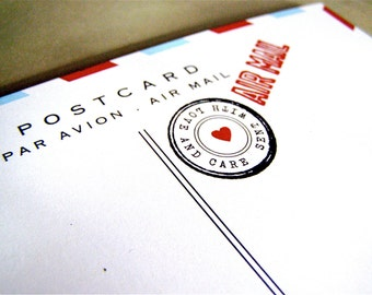 10 Red White and Blue Air Mail Postcards