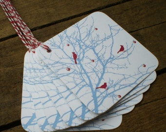 Berry Branch Bird Tags - set of 5