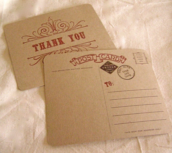 Vintage Style Thank You Postcards - 10 pack