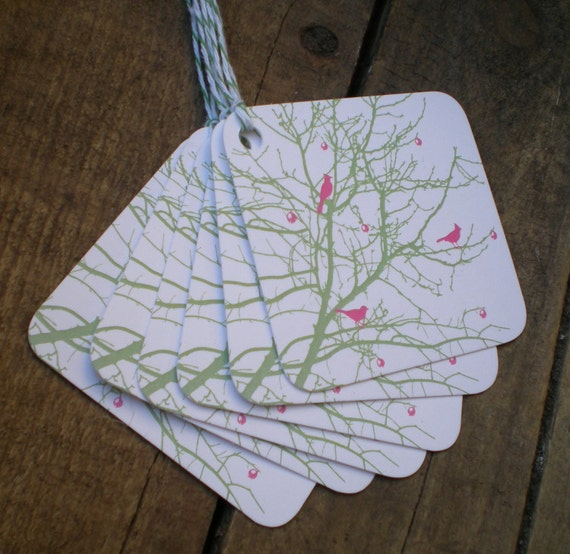 Spring Berry Branch Bird Tags - set of 5