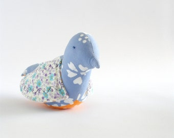 bird soft sculpture-toy-lavender, white, and orange bird with batik body and calico wings - baby friendly cloth bird