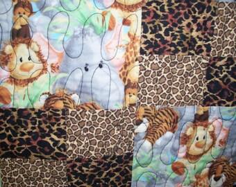 Baby quilt--leopard/animal print.