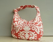 Reserved for B - Damask Shoulder Bag - Zipper Slouch Hobo Purse - Persimmon Orange Peach Coral (no27)