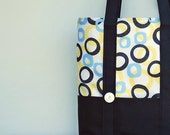 Beach Tote Bag - Canvas Tote Bag in Terry Cloth Mod Circles (no3)