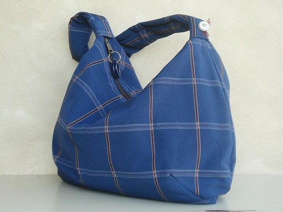 Hobo Slouch Bag  Handmade Handbag in Navy Plaid (no1) A zippered hobo bag constructed of decor weight fabric.