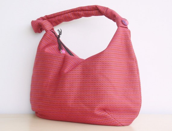 Slouch Hobo Bag Purse in Hot Pink Orange Tiny Checks (no1) A zippered hobo bag constructed of drapery weight fabric.