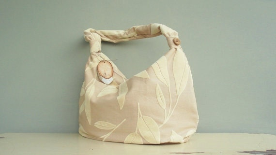 Last One Available - Slouch Purse with Zipper - Hobo Bag - Velour Leaves (no.12)