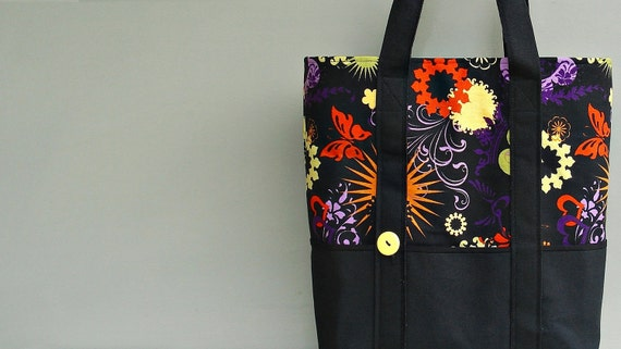 Large Canvas Tote Bag Purple Orange And By