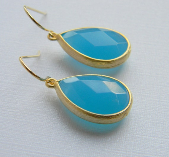 Gold Ocean Blue Earrings - Teardrop Czech Glass - Bridesmaid Earrings - Bridal Earrings