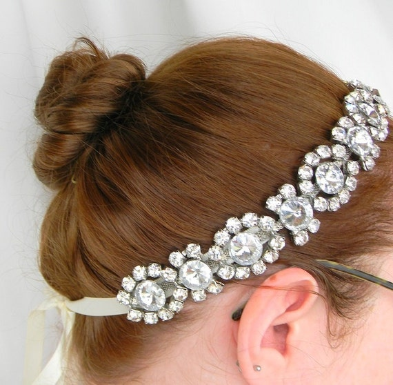 Rhinestone Headband - Crystal Rhinestone Halo Headband - Rhinestone Sash - The Callie - Bridal - Wedding - Glam