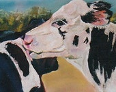 original giclee  blank greeting print farm animal cow