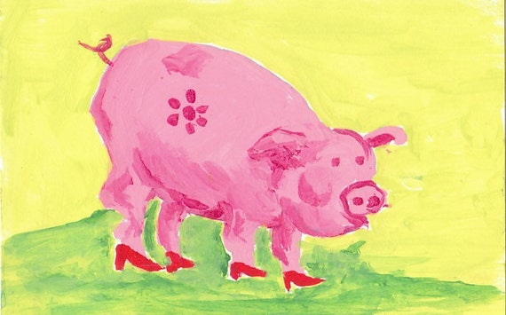 original aceo artist trading card mimiature art painting barn yard animal pink pig wearing red shoes