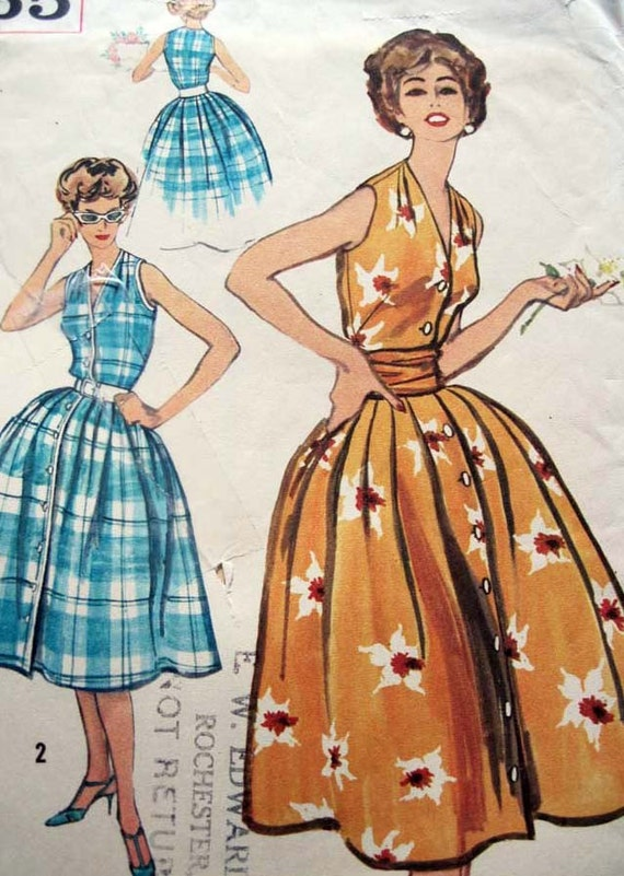 Vintage 1950's Simplicity Dress and Cummerbund Pattern 2565 UNCUT