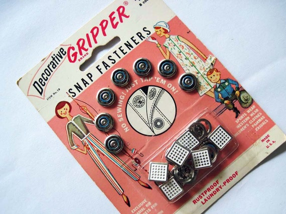 Vintage Scovill Snap Fasteners Card
