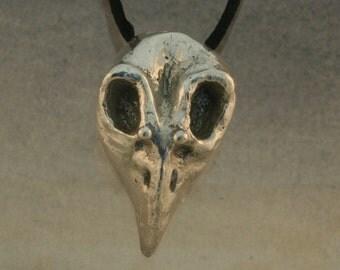 Cast Silver Bird Skull Pendant