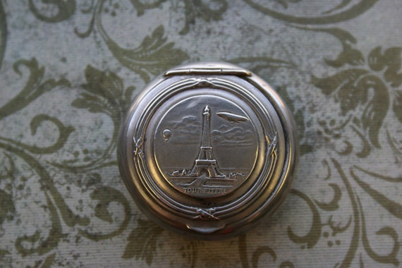 Antique French Eiffel Tower Powder Compact or Pill Box World Expo 1900