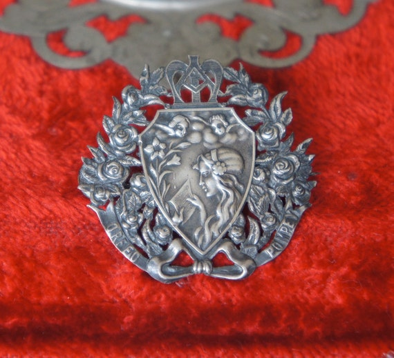 Antique French Art Nouveau Silver Plated Brooch