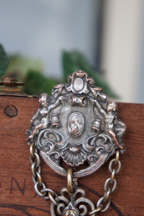 Antique French Cherub Fleur de Lys Chatelaine Complete with Hook and Clasp