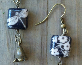 Dragonfly Decoupage Earrings with Brass Dangles