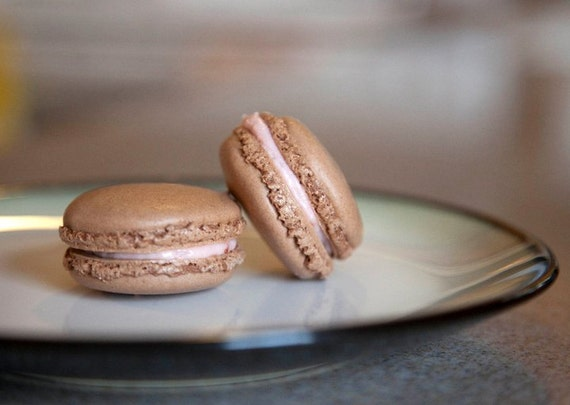 All Natural Chocolate Parisian Macaron's with Organic Strawberry Ganache