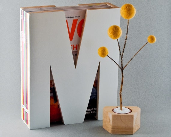 M is for magazine. in white.