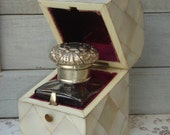 RARE Antique English Traveling Perfume or Inkwell in Mother of Pearl Etui