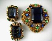 RESERVED FOR ATL Vintage FLORENZA in Blue Demi Parure Brooch/Pendant Earrings
