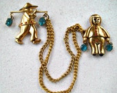 CORO Chatelaine Brooch Asian Water Carriers Vintage 1940s