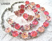 REDUCED Lisner Necklace Bracelet Earrings Jelly Pink Vintage Jewelry