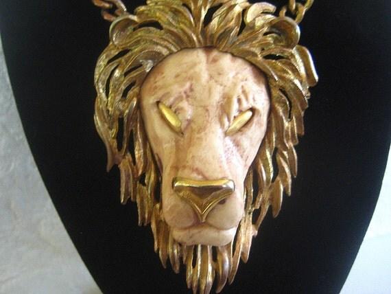 Massive RAZZA Lion Pendant Necklace 1970s