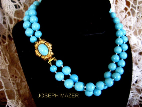 Signed Joseph Mazer Necklace Turquoise Glass Beads Vintage CIJ Sale