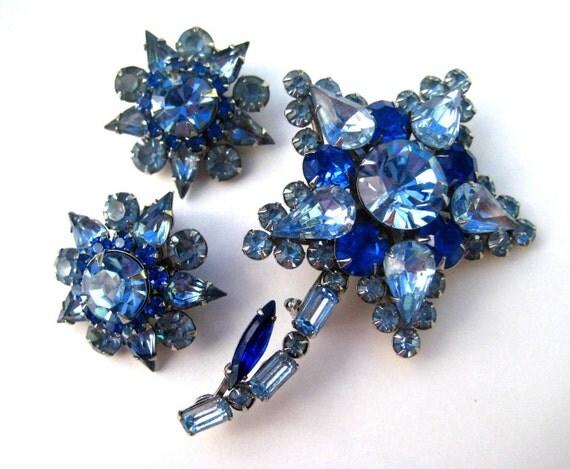 JUDY LEE Brooch Earrings Vintage Set CIJ Sale