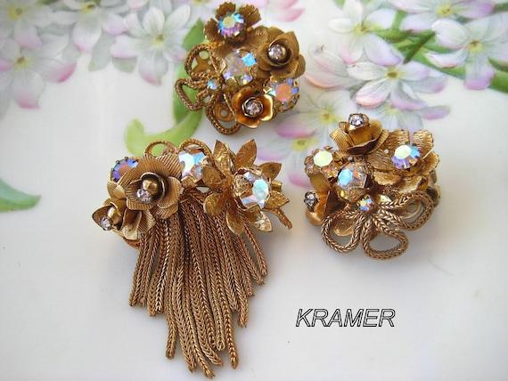 KRAMER Brooch Earrings Set  Roses Tassels Vintage Jewelry