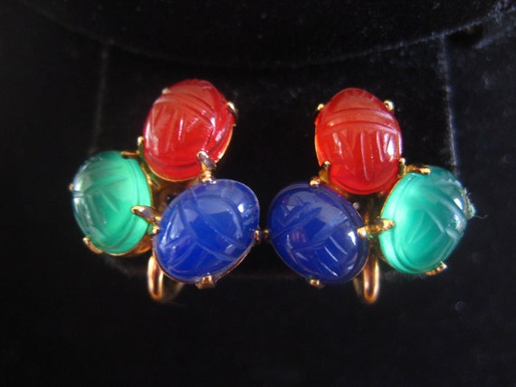 RERSERVED Do Not Purchase  Vintage Scarab Earrings Gold Filled