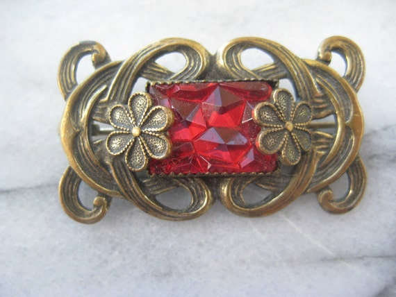 RESERVED for Deb Do Not Purchase Art Nouveau Brooch Red Vintage Jewelry