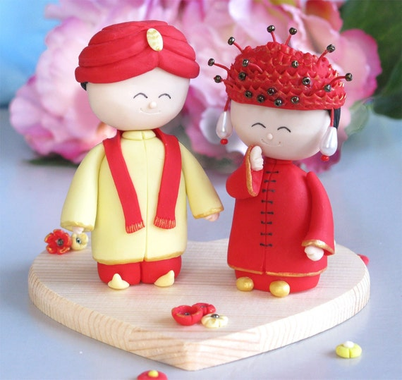 Indian Groom And Chinese Bride Wedding Cake Toppers By PassionArte