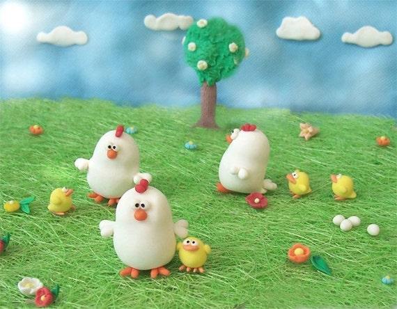 Miniature scene Palmira the Chicken - collectible - Listing for 1 scene