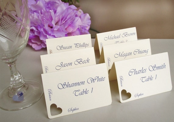 wedding place cards escort cards seating cards heart