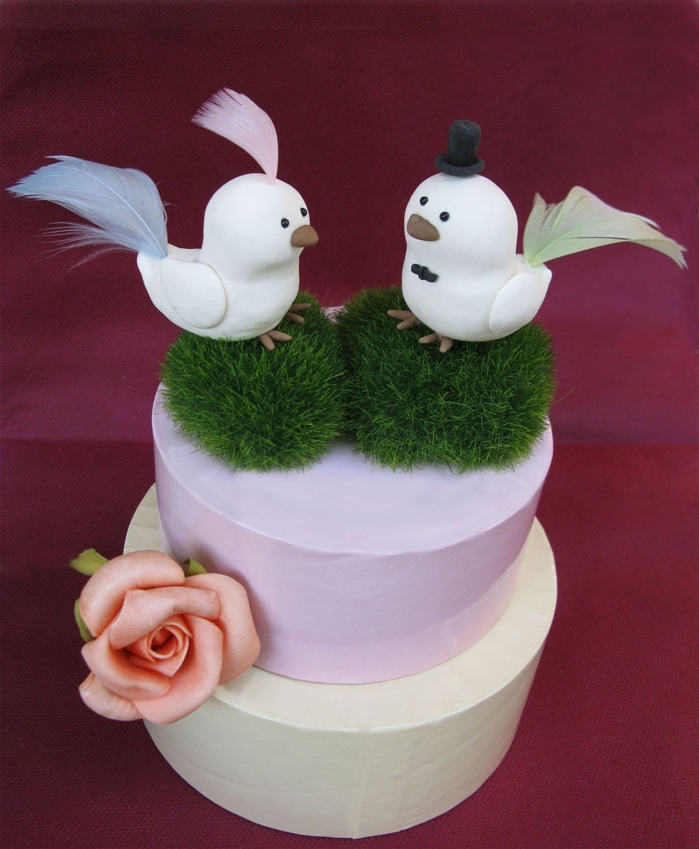 Elegant cute Love birds wedding cake toppers