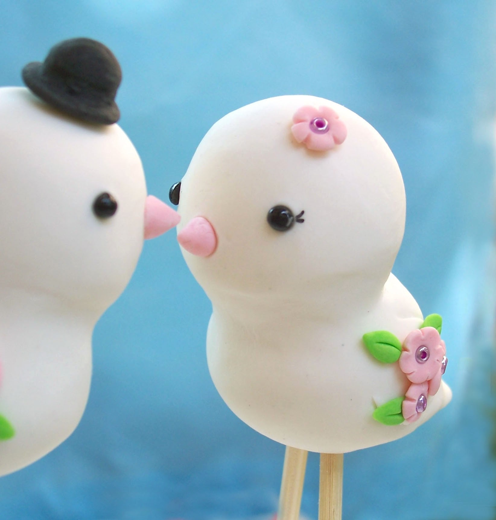 Cute Love birds wedding cake toppers Custom details and