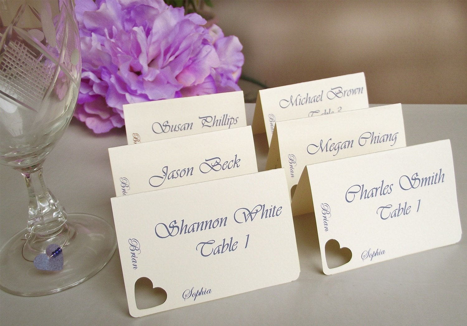 Wedding place cards escort cards seating cards heart for Place card for wedding