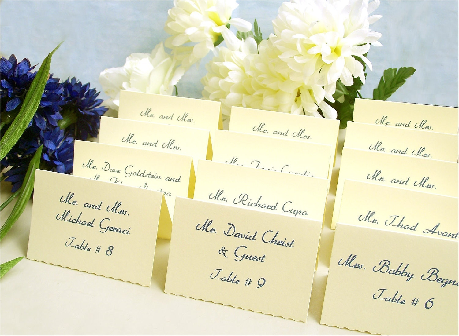 Items similar to wedding place cards tented escort cards for Personalized wedding place cards